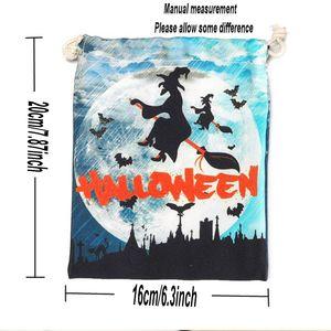 Halloween Decoration Candy Bag Gift Wrap Pumpkin Witch Human Skeleton Ghost Canvas Cartoon Bags Drawstring Pocket Children Trick GWD9523