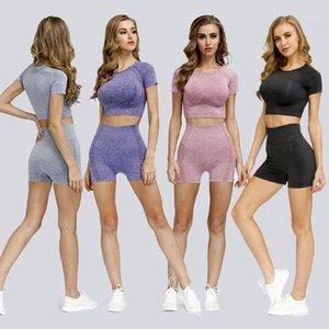 Vêtements de séance d'entraînement sans couture pour les femmes qui courent des séries de remise en forme pour les shorts de yoga Costume Summer Deux pièces Set1