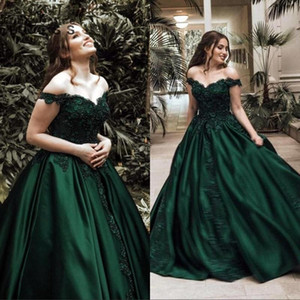 Koyu Yeşil 2021 Balo Quinceanera Elbiseler Kapalı Omuz Boncuk Kristaller Lace Up Tatlı 16 Elbiseler Gelinlik Modelleri Vestidos de Quinceanera