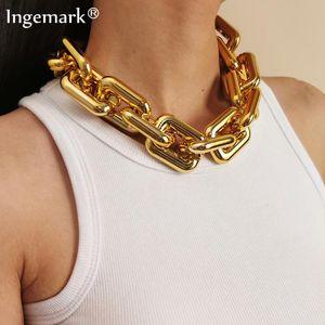 Кулон ожерелья преувеличенные кубинские бордюры большие коренастые цепочки ожерелье женщины Заявление о хип-хоп акриловая толстая звена гот ювелирные изделия стимпанк мужчин