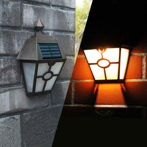 Solar Flame Wall Light Hex Lampe extérieure Retro LED Lumière Contrôle de la lumière Plastique Volet Étanche Courtyard Clôture Jardin Paysage Lumières