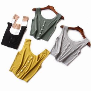 Summer new style women's bottomed vest sports five button slim umbilical strap fashion Yoga vest