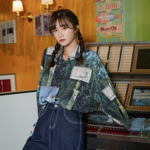 2021 Nova Renascimento Vintage Blusa Mulheres Manga Longa Camisa Oversized Floral Imprimir Designer Top Fashion Moda NGTC