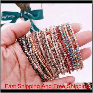 20Pcs Lot 7Inch Men'S Hip Hop Bracelet Tin Alloy Gold Silver Iced Rhinestone Crystal 1 Row Tennis Chain Bracelet Drop Shipping Pek1T Rfu1G