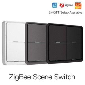 Tuya ZigBee 4 Gang Wireless 12 Scene Switch Push Button Controller Battery Powered Automation Switch Work With Alexa Google Home
