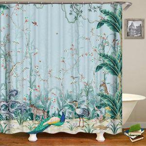 Curtain & Drapes Bathrooms Modern Fixture Flower And Birds Tree Shower Curtains Bath Waterproof Bathroom Decor Firanki Tende