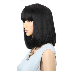 Pelucas sintéticas negras rectas con flequillos para mujeres de longitud media peluca de peluca bobo de peluca bobo peinado cosplay pelucas