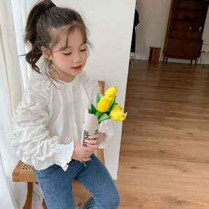 2021 Kids Shirts Girls White Blouse New Spring Summer Teen Long Sleeve Girl Tops Casual Fashion Children Clothing 2-10 Years Kn4k