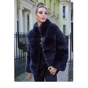 CP Winter Faux Fur Coat Women Fashion Stand Collar Jacket Women Elegant Patchwork Overcoat Female Ladies CP284