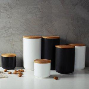زجاجات تخزين الجرار خزان السيراميك مختومة زجاجة القهوة مع غطاء الخشب التوابل جرة حاوية وعاء الحبوب منظم