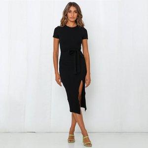 Летнее платье Женщины Sashes Сплит Bodycon Женщины Платье Женский Сплошной Цвет Короткие Платья с коротким рукавом Для Роб