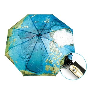 Creative Full Automatic Three-fold Blue Map Umbrella Rain Woman Personality Folding Ultra-light Sun Travel Man Anti-UV Umbrella GWF5388