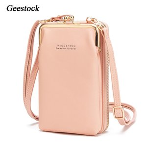 Geestock Women Phone Crossbody Bag PU Leather MINI Shoulder Messenger Bag Large Capacity Travel Portable Coin Purse Card Pouch