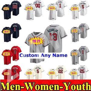 2020 Atlanta Мужчины Женщины Детские 13 Рональд Акуна JR Джерси 5 Фредди Фриман 7 Дансбский Swanson 24 Deion Sanders Индивидуальный бейсбол Джерси