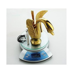 Wholesale- Bathroom Swan Faucet Gold Finish Single Tap Waterfall Sink Faucets Handles Vint jllcxn xmh_home