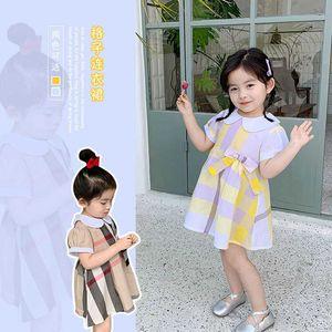 Brand girls plaid princess dress spring designer kids cotton clothes children doll lapel long sleeve lattice dress A2209