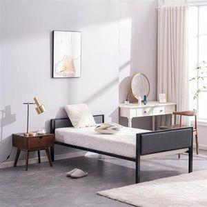 Мебель для спальни Современная студия деревянные планки Поддержка платформа Платформа Кровать каркас металлический Черный Твин Простая темно-Серая Мягкая Обложка Daybed