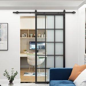 DIYHD TSD01 30inch Black Framed Clear Tempered Glass Sliding Barn Door Slab, Assembled Indoor Panel