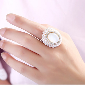 Ring jewelry pearl jewelry designer ring for ladies fashion party accessories clear crystal ring wholesale jewelry factory
