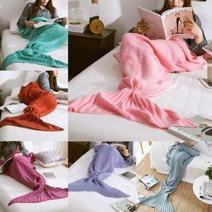 10 Farben Meerjungfrau Schwanzdecke Häkeln Meerjungfrau Decke Für Erwachsene Super Soft All Senasons Schlafende Blankets HWA3823