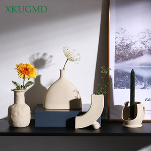 Hot Selling New Nordic Ceramic Creative Vase Crafts Balcony Flower Pot Dried Flower Arrangement Home Decoration Ornaments