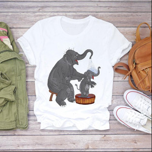 Women 2021 Cartoon Mom Mommy Baby Sweet Elephant Clothes Lady T shirts Top T Shirt Ladies Graphic Female Tee T Shirt