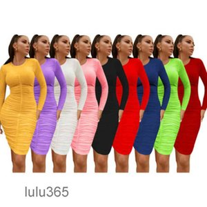 2021 Women Midi Dresses Solid Color Long Sleeve Modest Dress Sexy Elegant Cheap Casual Ladies One-piece Skirt A5509 lulu365