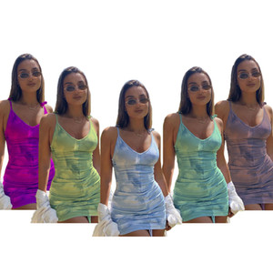 women designer clothes 2021 summer women's new sexy print V-neck suspender short back dress