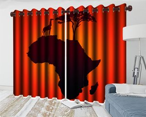3d Cartoon Animal Modern Curtain Red Curtains with Animals and Trees High Quality Curtains for Living Room