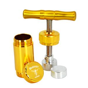 """""""Hornet"""" Presswerkzeug Engineered Messing Zylinder Heavy Duty Metall T Form Gewürz Pollen Tinktur Brecher Silber Farbe"""