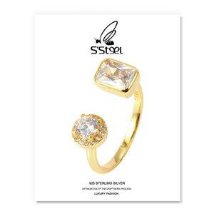 S'Steel الزركون الدائري هدية للمرأة 925 فضة الكورية الأزياء الهندسية الفاخرة افتتاح الدائري accesorios موهير مجوهرات