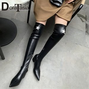 Doratasia New Womens muslo Botas altas Kid Suede puntiagudo Punta de Toe Chunky Heels Zapatos Mujer Party Over Ther Knee Boots Femenina Z470 #