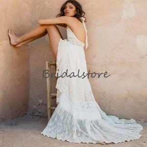 Rustic Greek Lace Boho Wedding Dresses 2021 Sexy Halter Backless Summer Beach Wedding Dress V Neck Sleeveless Garden Wedding Bride Lace Gown
