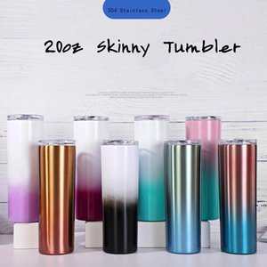 Tumblr skinny 20 once con graduale graduale colore in acciaio inox isolato tazza di aspirapolta con coperchio tazze da caffè metallizzato paglia DHB5401