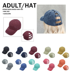 10 Colors Solid Color Broken Edge Holes Ponytail Baseball Cap Washed Cotton Ball Cap Fashion High Messy Sun Peak Hat LLA457