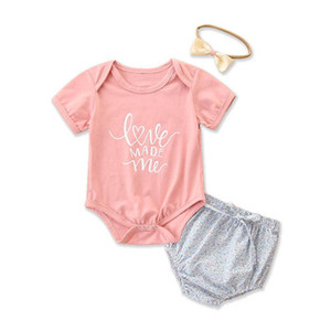 Baby Girl Clothes Baby Sets Infant Outfits Summer Cotton Short Sleeve Romper Shorts Bows Headbands 3Pcs Toddler Suits 0-24M B4148