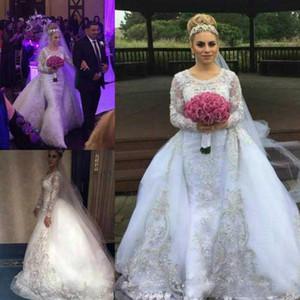 Glamorous Beads Crystal Overskirt Wedding Dresses detachable train Saudi Arabia Country African Custom Vestido de novia Formal Bridal Gown
