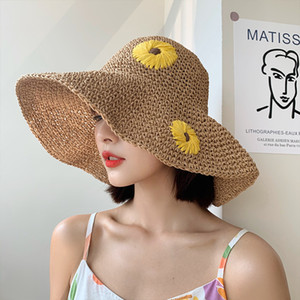 2021 Hat Female Straw Hat Korean Fashion Japanese Summer straw hat Little Fresh Little Daisy Sunscreen Forest Beach Sunhat