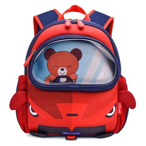Awinpop Brand New 3D Cartoon Funt Cool Red Car School Bags per ragazzi Kindergarten Backpacks Girls Impermeabile Scolastica Scheda Satchels Y0125