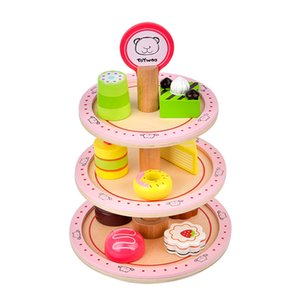 Kids Wooden Pretend Play Food Toy 3-Tier Dessert Tower Pink
