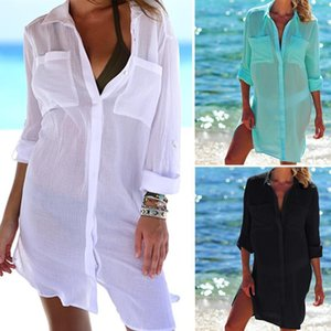 Hot 2021 Cotton Tunics For Beach Swimsuit Cover Ups Woman Swimwear Beach Cover Up Beachwear Mini Dress Saida De Praia