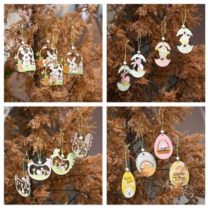 20 Designs Easter Pendant Happy Easter Wooden Easter Bunny Egg Rabbit Pendant Craft DIY Hanging Ornament Party Decor Supplies