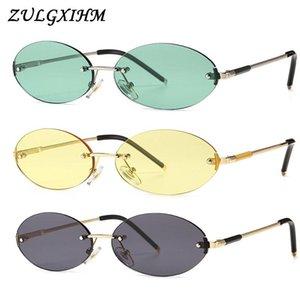 Zulgxihm Retro Oval Sonnenbrille Randlose Frauen UV400 Gelb Grün Blau Männlich Sonnenbrille Kleine Männer Runde Form Metall Geschenk Sommer
