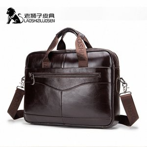 LAOSHIZI LUOSEN Mens Genuine Leather Bag Briefcase Messenger Bag Men Leather Work Bolso Hombre 91504 x1rn#