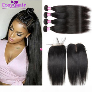 Wholesale Brazilian Virgin Hair Striaght Human Hair Wefts Bundles With 4x4 Lace Closure Unprocessed Extensions Weave Bundles