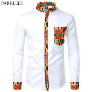 Дасики африканская мужская рубашка лоскутная кармана африканская печать рубашки мужчины анкара стиль длинный рукав дизайн воротник мужские платья рубашки 210305