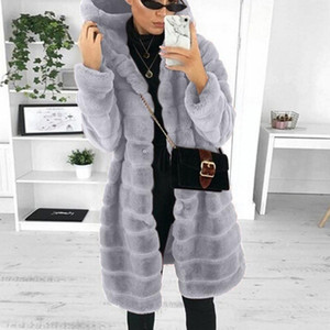Womens Coats Winter Solid Plush Faux-Fur' Gilet Long Sleeve Mid-length Waistcoat Body Warmer Hooded Jacket Coat OutwearD23#1
