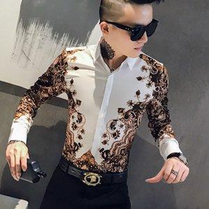 2021 impressão casual masculino manga longa camisas fina streetwear camisa social clube noite roupas vestido de festa chemse homme 9c4f