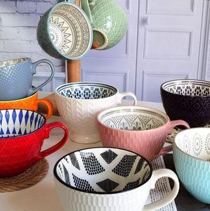 Retro Defect Creative Nordic Embossed Personality Ceramic Mug Dessert Cereal Breakfast Milk Coffee Cup Kawaii Mug CN(Origin)