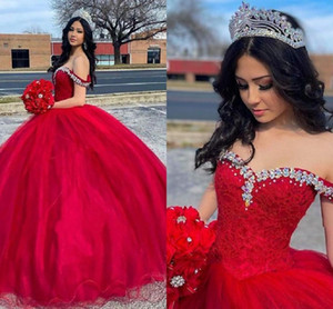 Red Quinceanera Dresses 2021 Off the Shoulder Lace Applique Beaded Tulle Custom Made Princess Sweet 16 Birthday Party Ball Gown vestido